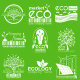 Set of ecology, environment and recycling logos. Vector logo tem. Plates and badges Stock Photo