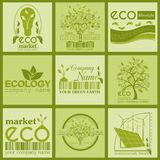 Set of ecology, environment and recycling logos. Vector logo tem. Plates and badges Royalty Free Stock Image
