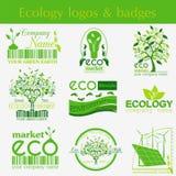 Set of ecology, environment and recycling logos. Vector logo tem Royalty Free Stock Photo