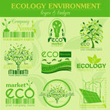 Set of ecology, environment and recycling logos. Vector logo tem Royalty Free Stock Image