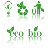 Set ecology green icons Stock Photography