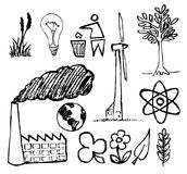 Set of ecology hand-drawn icons Stock Image