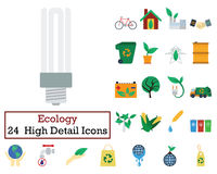 Set of 24 Ecology Icons. Flat color design. Vector illustration Stock Image