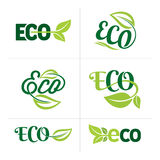 Set of ecology icons with green leaves in vector Royalty Free Stock Photos