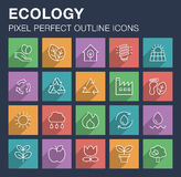 Set of ecology icons with long shadow. Stock Image