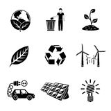Set of ECOLOGY icons with - recycle sign, green Stock Photography