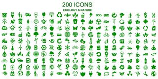 Set of 200 ecology icons - vector royalty free illustration