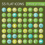 Set of ecology nature flat icons Royalty Free Stock Image