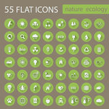 Set of ecology nature flat icons Royalty Free Stock Photo