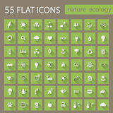 Set of ecology nature flat icons Stock Photos
