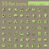 Set of ecology nature flat icons Stock Photo