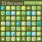 Set of ecology nature flat icons Royalty Free Stock Photography