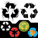 Set of ecology recycling symbols. Vector illustrations of six different ecology symbol icons: two isolated grungy icons (splatter and dirt textured - highly Royalty Free Stock Image