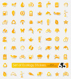 Set of ecology stickers. Ecology vector sticker icons with shadow. Paper cut Stock Images