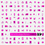 Set of ecology stickers. Set of ecology vector sticker icons with shadow. Paper cut Royalty Free Stock Photography