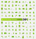 Set of ecology stickers. Ecology vector sticker icons with shadow. Paper cut Royalty Free Stock Photography