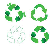 Set of ecology symbols. Set of four different recycling symbols Royalty Free Stock Images
