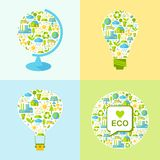 Set of ecology symbols with simply shapes globe, lamp,  balloon. Simple illustration with balloon, lamp, globe and many icons on nature theme Royalty Free Stock Images
