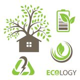 Set of ecology vector icons. Set includes- recycle icon, green house, leafs, tools, plug, eco battery icons. Modern minimalistic flat design. Vector green icon Stock Images
