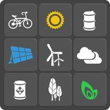 Set of 9 ecology web and mobile icons. Vector. Set of 9 ecology vector web and mobile icons in flat design. Symbols of sun, cloud, trees, bicycle, barrel, leaf stock illustration