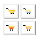 Set of ecommerce shopping cart or trolley - vector icons. This also represents concepts like internet purchase, online shopping, web commerce, etc Royalty Free Stock Image
