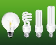 Set of economical lamps Stock Photo