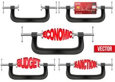 Set of Economy and budget being squeezed in a Royalty Free Stock Photos