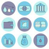 Set of economy crysis icons Stock Photography