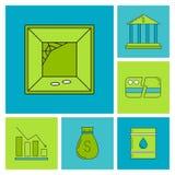 Set of economy crysis icons Royalty Free Stock Image