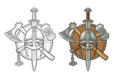 Set edged weapons viking. Knife, axe, sword, hammer. Vintage engraving. Set edged weapons viking. Knife, axe, helmet, sword, hammer with runes. Vintage vector Royalty Free Stock Photos