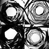 Set of edgy geometric textures. Random chaotic shapes. Abstract Royalty Free Stock Image
