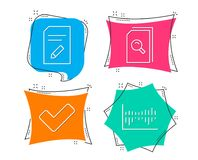 Edit document, Tick and Search files icons. Column diagram sign. Set of Edit document, Tick and Search files icons. Column diagram sign. Page with pencil Stock Photos