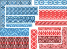 Set of 15 Seamless Ethnic Patterns for Embroidery Stitch. Set of 15 editable colorful seamless ethnic patterns for embroidery stitch. Borders and frames Royalty Free Stock Photography