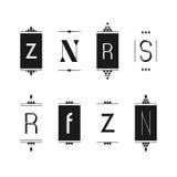Set of editable monogram logo designs. In black and white royalty free illustration