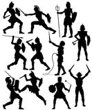 Female gladiator silhouettes. Set of editable vector silhouettes of fighting female gladiators with figures and weapons as separate objects Stock Photography