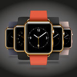 Set of 5 edition modern shiny golden smart watches Stock Photography