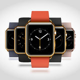 Set of 5 edition modern shiny golden smart watches Royalty Free Stock Images