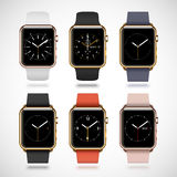 Set of 6 edition modern shiny golden smart watches Royalty Free Stock Photos