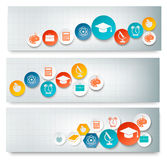 Set of education banners with icons. Stock Photos