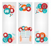 Set of education banners with icons. Royalty Free Stock Images