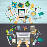 Set of education and business workplace concepts vector illustration