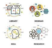 Set of education concepts, library, webinar, and research proces. Modern flat thin line design vector illustration, set of education concepts, library, webinar Royalty Free Stock Image