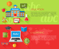 Set of education and e-learning concept banners. With place for text. Collection of flat education icons for your design. Vector illustration royalty free illustration