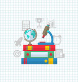 Set of Education Flat Colorful Simple Icons Royalty Free Stock Photo