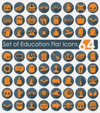 Set of education flat icons. It is a set of 64 vector sticker icons with shadow. Paper cut Stock Image