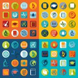 Set of education flat icons Royalty Free Stock Photography
