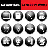 Set of education glossy icons Stock Images