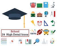 Set of 24 Education Icons. Flat color design. Vector illustration Royalty Free Stock Image