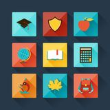 Set of education icons in flat design style Royalty Free Stock Photo
