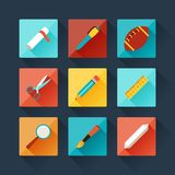 Set of education icons in flat design style Stock Photo